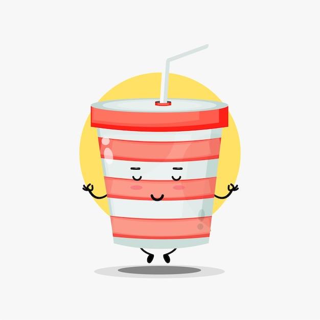 ヨガのポーズで瞑想するかわいいソーダカップのキャラクター