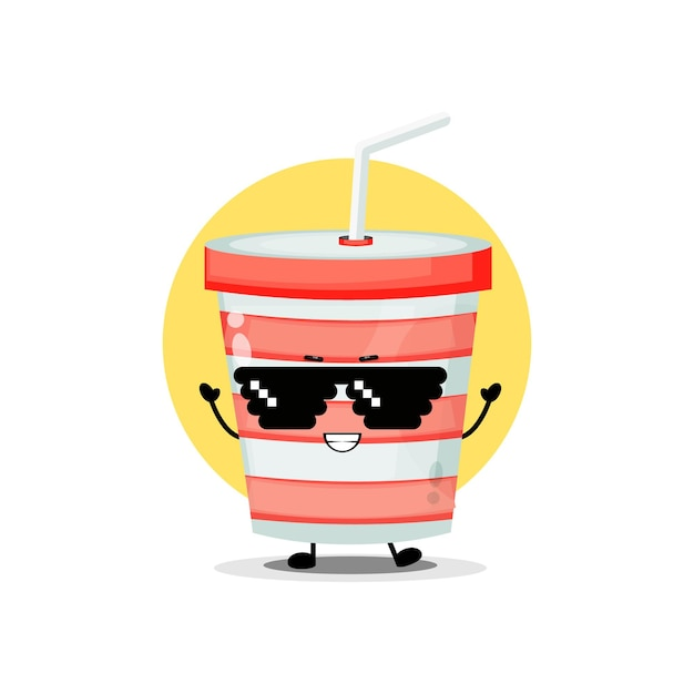 Cute soda cup character wearing pixel glasses