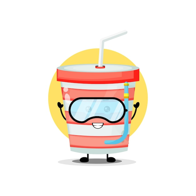 Cute soda cup character wearing swimming goggles