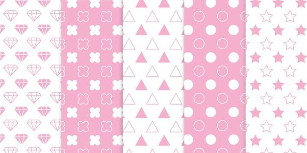 어린이 또는 어린이 침실 또는 보육 예술 프로젝트를 위한 귀여운 부드러운 베이비 핑크 색상 무료 벡터 패턴