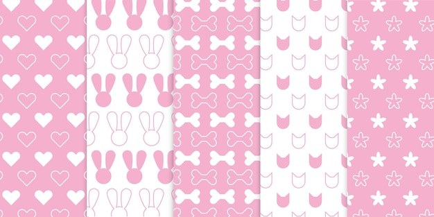 Cute soft baby pink color free vector pattern for kids or children bedroom or nursery art projects