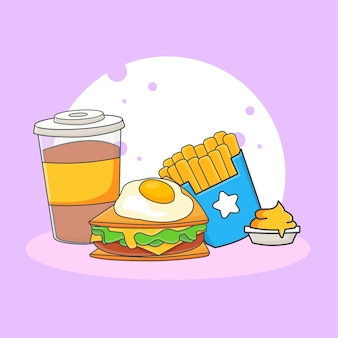 かわいいソフトドリンク、サンドイッチ、フライドポテトとソースのアイコンイラスト。ファーストフードアイコンコンセプト。漫画のスタイル