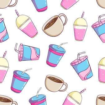 Cute soft drink seamless pattern with soda, cup milkshake and coffee