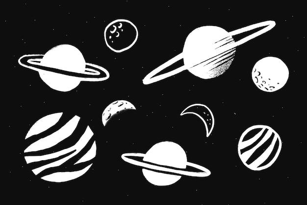 Autoadesivo dell'illustrazione di scarabocchio della galassia bianca del sistema solare carino Vettore gratuito