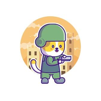 Cute soldier army mascot cartoon illustration