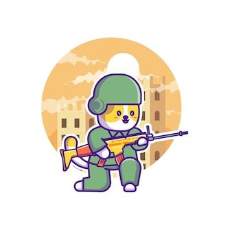 Милый солдат армии талисман дизайн иллюстрации