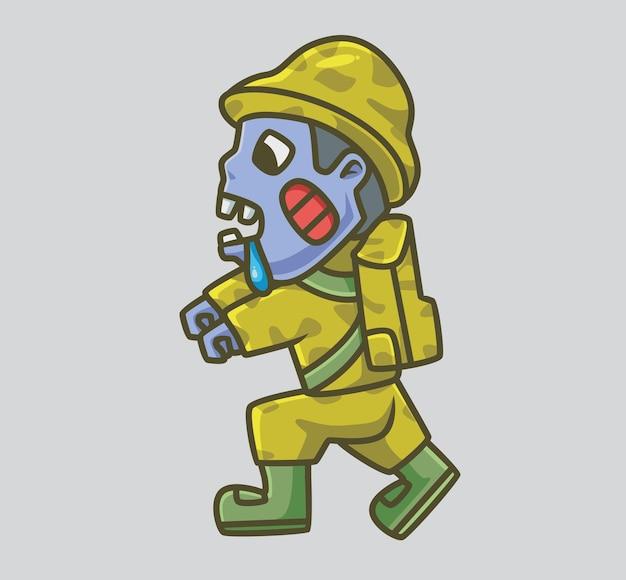 귀여운 군인 군대 좀비가 걷고 있습니다. 격리 된 만화 동물 할로윈 그림입니다. 스티커 아이콘 디자인 프리미엄 로고 벡터에 적합한 플랫 스타일. 마스코트 캐릭터