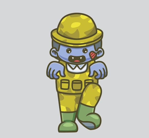 귀여운 군인 군대 좀비. 격리 된 만화 동물 할로윈 그림입니다. 스티커 아이콘 디자인 프리미엄 로고 벡터에 적합한 플랫 스타일. 마스코트 캐릭터