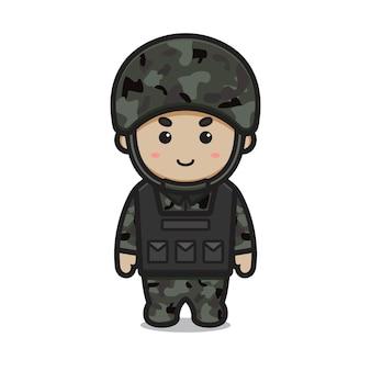 귀여운 군인 착용 갑옷과 헬멧 만화 벡터 아이콘 그림. 직업 아이콘 개념 고립 된 벡터입니다. 플랫 만화 스타일