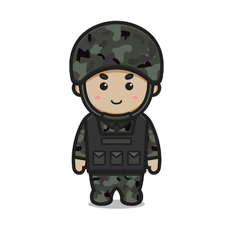 Cute soldier wear armor and helmet cartoon vector icon illustration. profession icon concept isolated vector. flat cartoon style