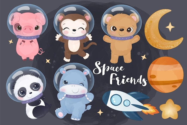 Cute space animals in watercolor illustration