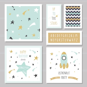 Cute space cards with glitter for kids