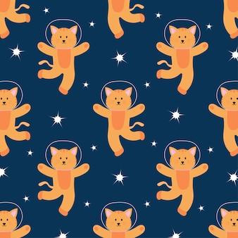 Cute space cat in seamless pattern