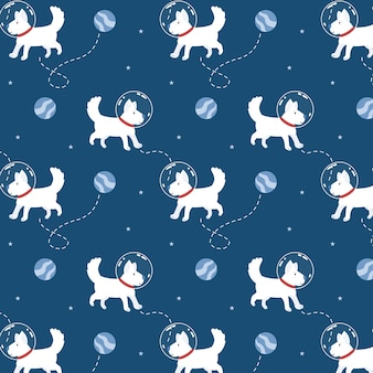 Cute space dog in seamless pattern