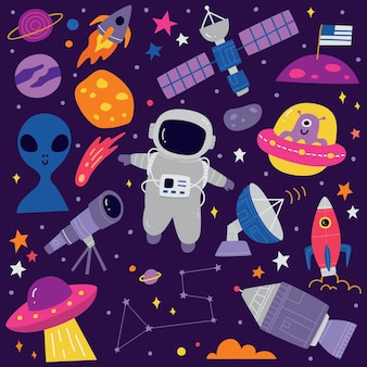 Cute space doodle cartoon