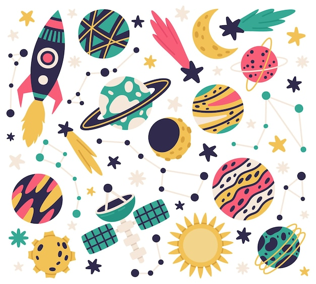 Cute space galaxy elements spaceship planets comet and stars cartoon vector illustration set