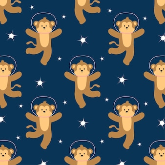 シームレスなパターンでかわいい宇宙猿