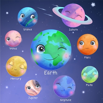 Cute space planet in watercolor style illustration set