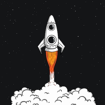 Cute space rocket take off with colored doodle style on space