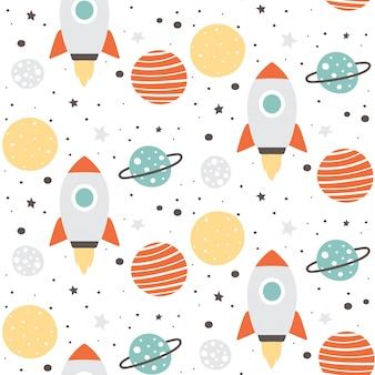 Cute space seamless pattern design
