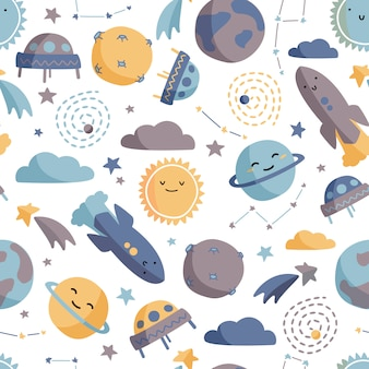 Cute space seamless pattern.