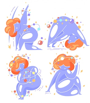 Cute space set overweight girl is doing twisting exercises from yoga. world yoga day. body positive, acceptance of your body, health care.