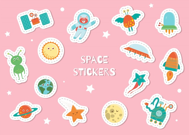 Cute space stickers for children on pink background. bright flat illustration of satellite, astronaut, alien, sun, planet, earth, star, moon, ufo, rover, rocket. cosmic smiling characters for kids