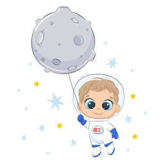 Cute spaceman flying on the moon.