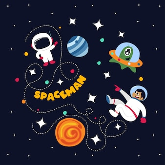 Cute spaceman in outer space with some planets and stars