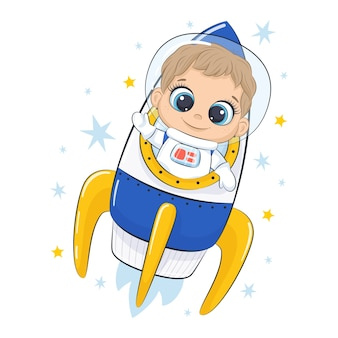 Cute spaceman with spaceship and stars.