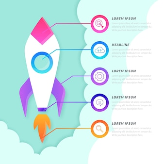 Cute spaceship cartoon startup infographic