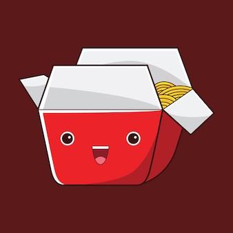 Cute spaghetti character in flat design style