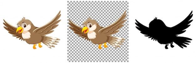 かわいいスズメの鳥の漫画のキャラクター