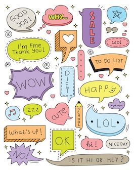 Cute speech bubble doodle set vector illustration