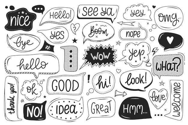 Cute speech bubble with funny words set