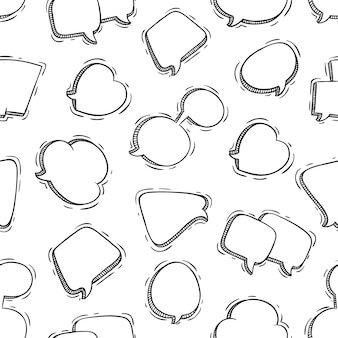 Cute speech bubbles seamless pattern with doodle style
