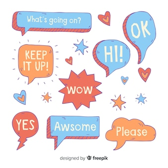 Cute speech bubbles with different expressions