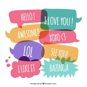 Cute speech bubbles with expressions