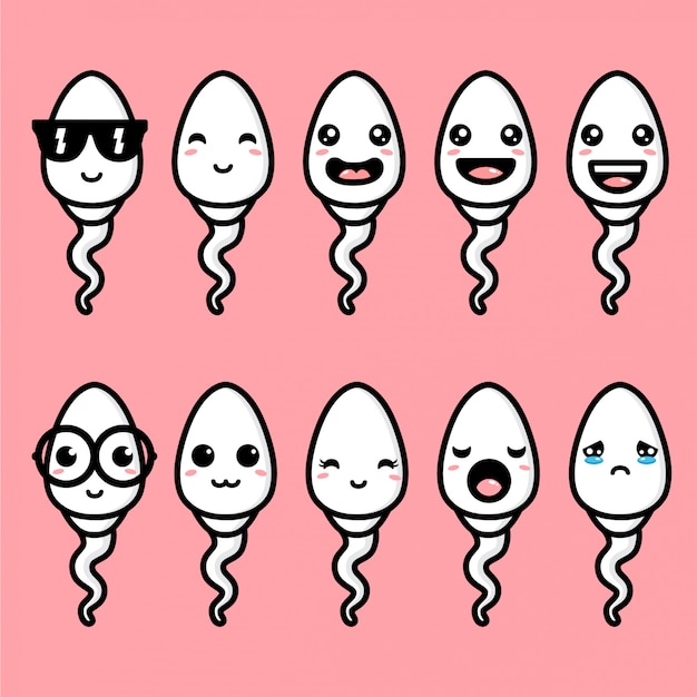 Cute sperm mascot vector design