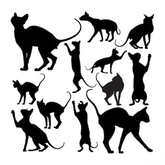 Cute sphynx cat animal silhouettes