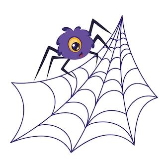 ウェブ上のかわいいクモ。漫画のベクトル図