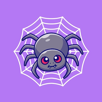Cute spider with net cartoon  illustration. animal nature  concept isolated . flat cartoon style