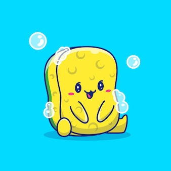 Cute sponge cartoon   icon illustration. healthy mascot character. health and medical icon concept isolated
