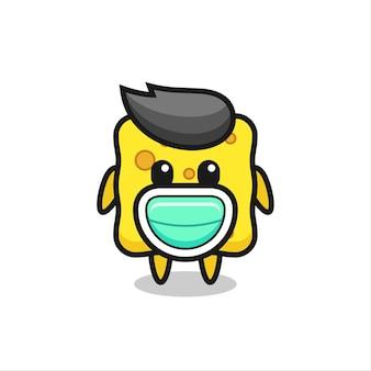 Cute sponge cartoon wearing a mask , cute style design for t shirt, sticker, logo element