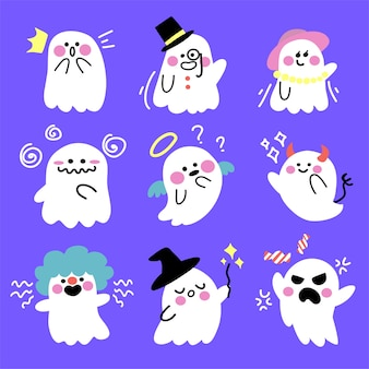 Cute spooky adorable ghost  illustration design collection