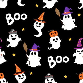 Cute spooky ghosts and scary pumpkin seamless pattern