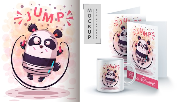 Cute sport panda poster and merchandising