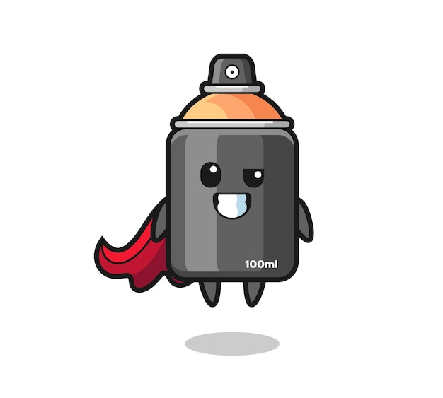 The cute spray paint character as a flying superhero , cute style design for t shirt, sticker, logo element