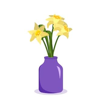 ギフトの室内装飾植物店として花瓶の花束にかわいい春と夏の花の水仙...