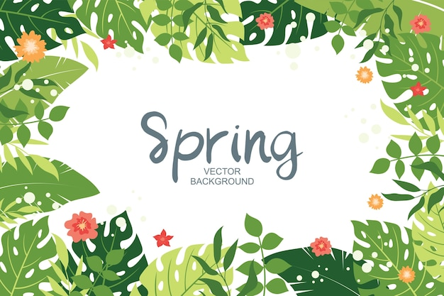 Cute spring background with tropical leaves and floral elements, simple and trendy  style